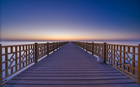 Pier at Sunrise - sea, Egypt, wooden, pier, sunrise