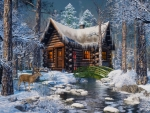 Scenic Winter Log Cabin