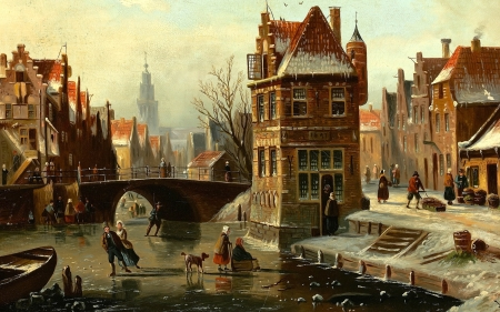 Winter in Town - town, canal, bridge, houses, painting, ice, winter