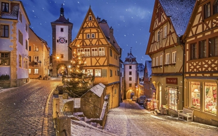 Rothenburg, Germany - Germany, houses, street, town, Christmas