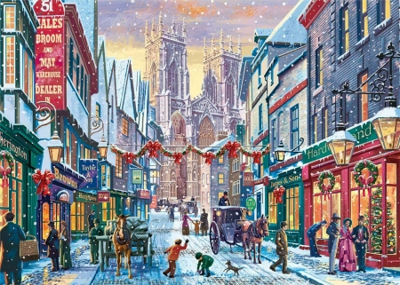 A Victorian Christmas in York - Christmas, york, minster, snow, victorian, Church, horse, carriage, decorations