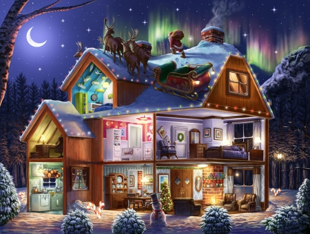 Christmas house - fantasy, santa, roof, house, craciun, christmas, night, art, luna, moon
