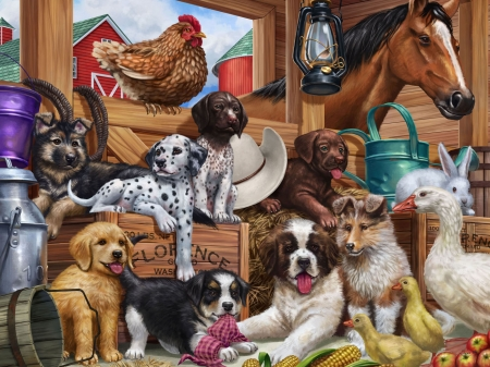Puppies - farm, art, painting, caine, pictura, dog, puppy
