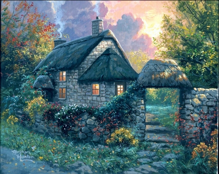 Happy Home - house, painting, garden, sunset, wall, trees, light, artwork