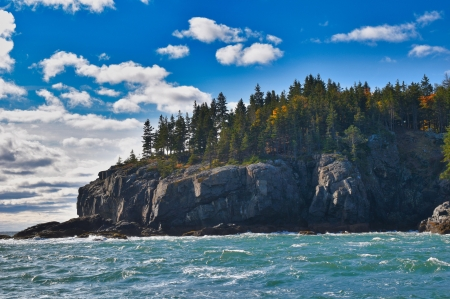 Bar Harbor, Maine - sea, coast, usa, sky, clouds, trees