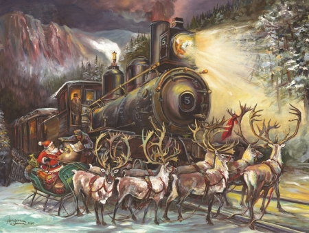 Santa - art, santa, christmas, train, craciun, painting, reindeer, pictura