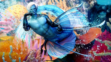 Merman - sugarcatart, vara, fantasy, rose, summer, mermaid, man, blue