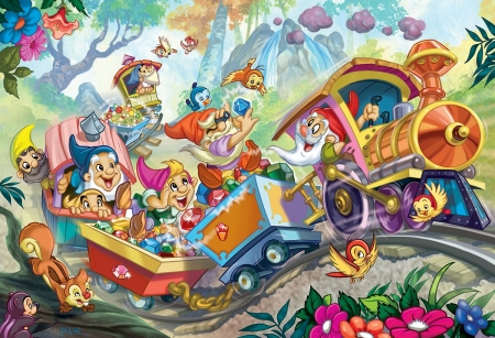 The seven dwarfs - snow white, fantasy, gnome, seven dwarfs, copil, child, dwarf