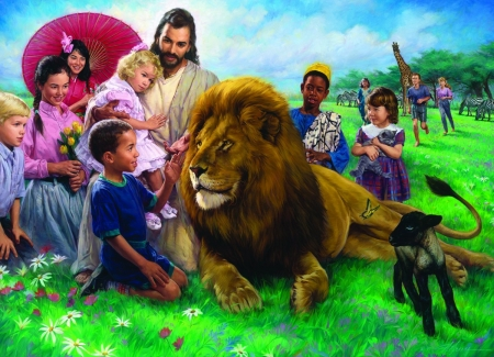 The lion and the lamb - art, jesus christ, children, lamb, man, pictura, nathan greene, lion, painting