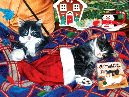 Waiting for Santa - art, craciun, christmas, painting, pictura, kitten, cat, pisici