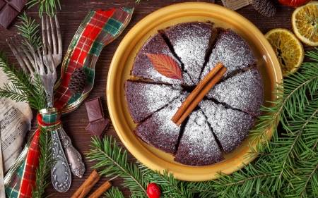 Christmas Cake - cinnamon, cake, Christmas, fork, chocolate