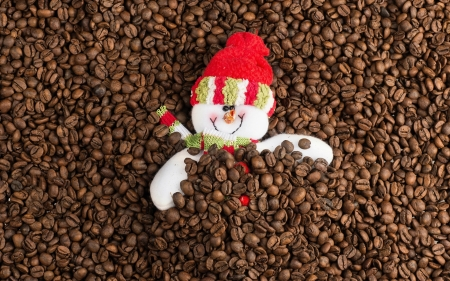Coffee Lover - smile, snowman, coffee, beans