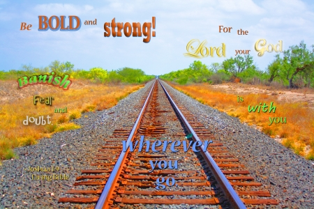 God Will Go With You - bushes, grass, railroad tracks, ranchland, sagebrush, Bible