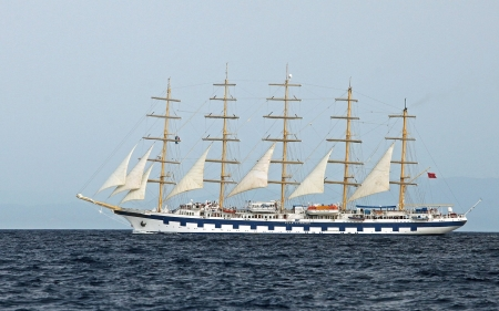 Tall Ship in Tyrrhenian Sea - tall ship, sails, ship, sea