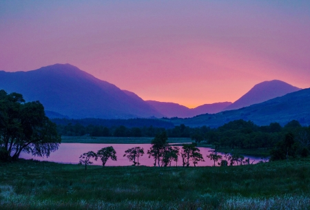 The glow before sunrise in the West Scottish Highlands - sky, mountains, hills, colors, trees, lake