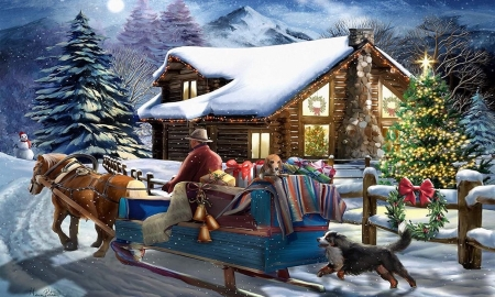 Christmas gifts - sleigh, rural, snow, Holidays, christmas, home, winter, gifts