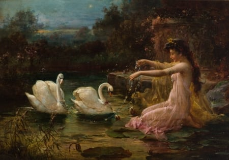 The swan lake - art, water, girl, bird, hans zatzka, swan, pictura, lake, painting