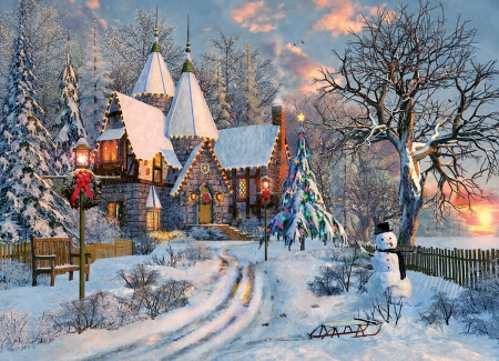 Winter - house, painting, evening, snowman, pictura, winter, iarna, art, christmas, craciun