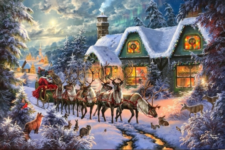 Christmas magic - rabbits, reindeer, winter, sleigh, cottage, trees, artwork, santa, snow, fox, painting, road