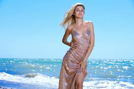 Christine Cardo at the Beach - model, sea, gown, beach, blonde, smile