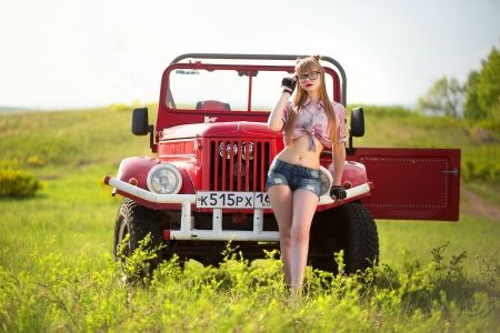 Model Posing with a Russian 1969 GAZ Jeep