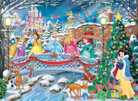 Christmas Disney princesses - princess, disney, winter, craciun, christmas, snow white, aurora, belle, fantasy, girl, ariel