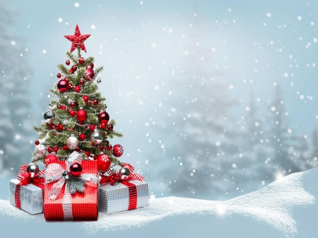 Merry Christmas - ornaments, trees, gifts, winter, snow