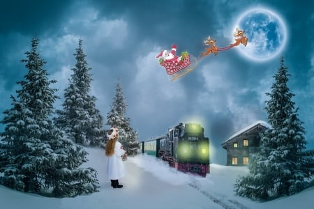 Santa in flight - sleigh, moon, christmas, train, snow, painting, cabin, trees