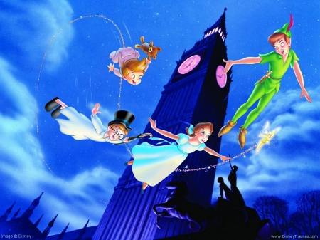 peter pan - wendy, boys, peter, pan, clock