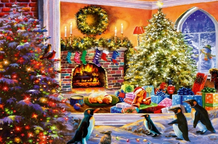 A magical view to christmas - window, snowman, chimney, dog, bulbs, artwork, fire, teddybear, tree, painting, penguins