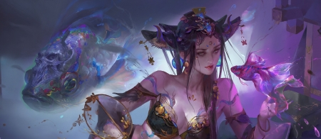 Beauty - teame, art, frumusete, luminos, fish, superb, fantasy, purple, girl, pesti, dark, tea me, gorgeous