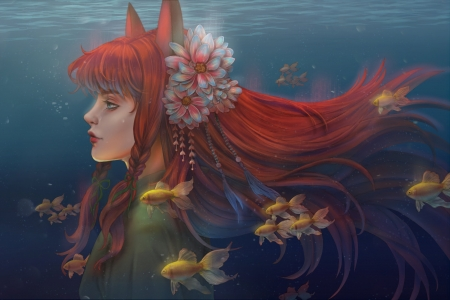 Kitsune - art, luminos, kitsune, redhead, fish, yellow, fumusete, water, vara, fox, girl, pesti, dark, summer, face
