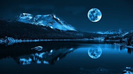 full moon reflection - mountain, cool, space, full moon, fun, reflection, lake