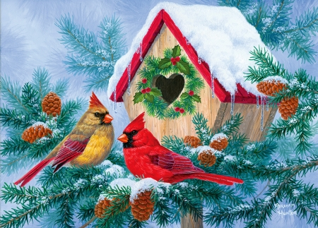 Home, sweet home! - art, Christmas, cone, holiday, home, birds, beautiful, branch, winter, cardinals, gathering, snow, heart, birdhouse, friends