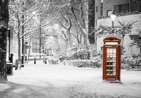 The Important Phone Call - box, Phone, snow, winter, photography