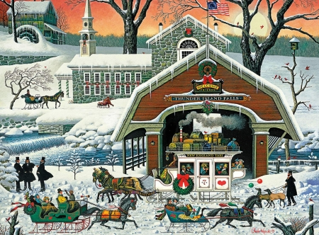 The Twilight before Christmas - snow, winter, art, christmas, people, painting