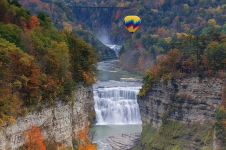The Middle Falls At Letchworth State Park, NY - fall, balloon, autumn, cascades, colors, river, trees