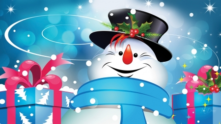 Happy Christmas Snowman - packages, presents, snowman, winter, gifts, Christmas, Feliz Navidad, holiday, smiles, happy, snow