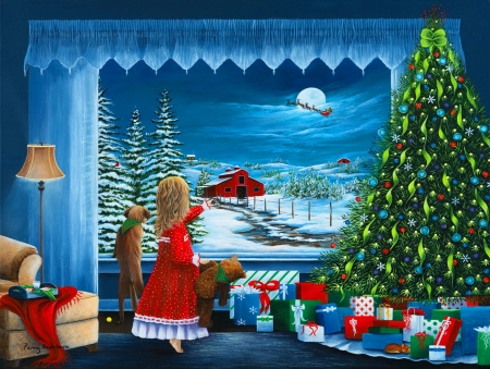 Santa's coming - cozy, holiday, view, window, christmas, flight, sky, Santa, winter, come, kid, tree, girl, reindeers, toys, sleigh, barn, eve