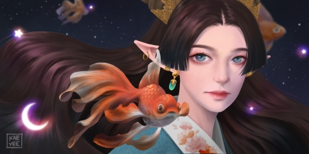 Fantasy girl - luminos, girl, pesti, cheah kae yee, face, earring, art, fish, orange, elf, fantasy