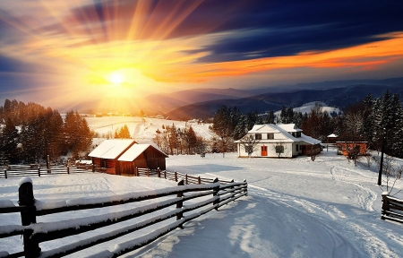Winter in a Village - sky, road, houses, fence, sunset, clouds