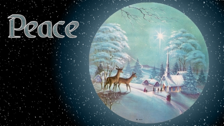 Peaceful Christmas - Christmas Star, Church, Christmas, Christmas Eve, Deer, Peace