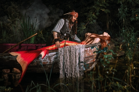 Jack Sparrow and the mermaid - boat, aleksandra savenkova, model, girl, cosplay, jack sparrow, mermaid, man, couple