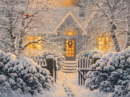 Winter Wonderland - winter, art, house, snow, christmas, wonderland, beautiful