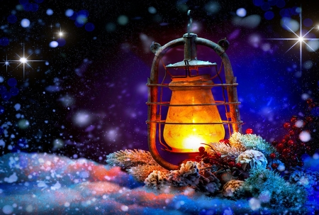 Christmas Lantern - lamp, snow, pinecones, light