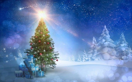 Christmas - tree, gifts, star, ornaments, forest, snow