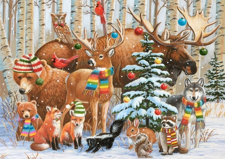 Magical Forest Holiday - animals, deer, winter, rabbit, christmas, bear, birds, raccoon, tree, snow, painting, foxes, wolf