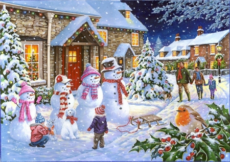 Snow family - snowmen, snow, houses, painting, village, trees