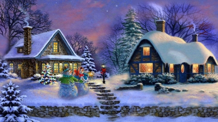 Christmas Home - trees, snow, winter, cottages, painting, snowman