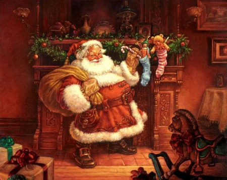The Night Before Christmas - santa, chimney, gifts, toys, painting
